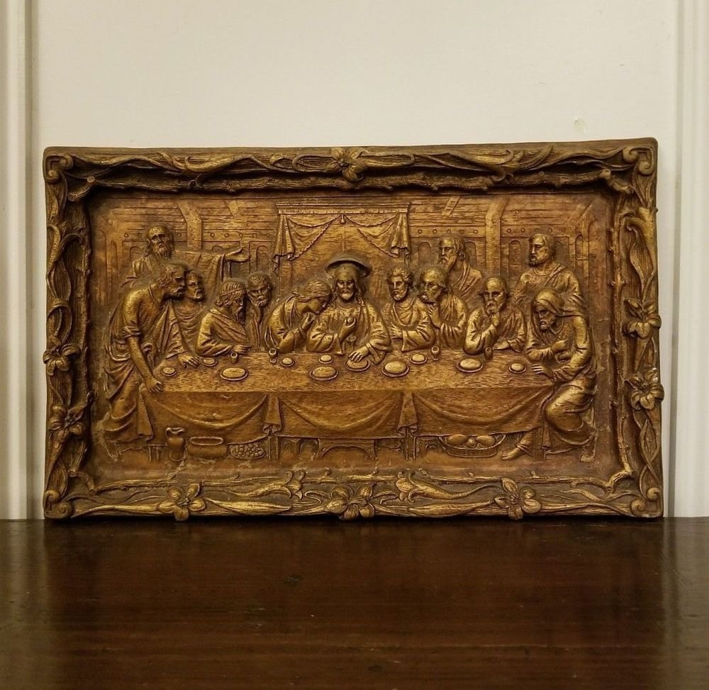 Vintage The Last Supper Chalkware Wall Plaque Hanging Gold Bronze With Regard To Most Up To Date Bronze Wall Art (View 16 of 20)