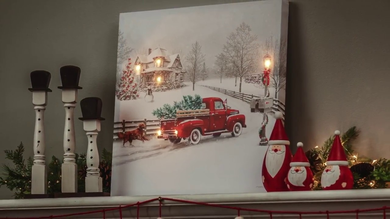 Vintage Truck Led Light Up Canvas Wall Art (6Ltc6190) – Youtube Throughout Recent Light Up Wall Art (View 19 of 20)