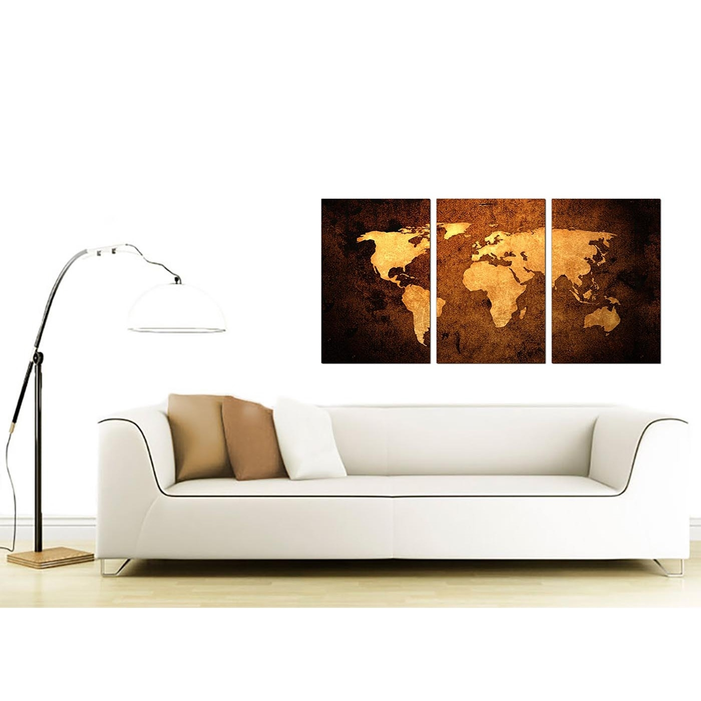 Vintage World Map Canvas Wall Art Set Of 3 For Your Bedroom For 2017 Wall Art (View 2 of 15)