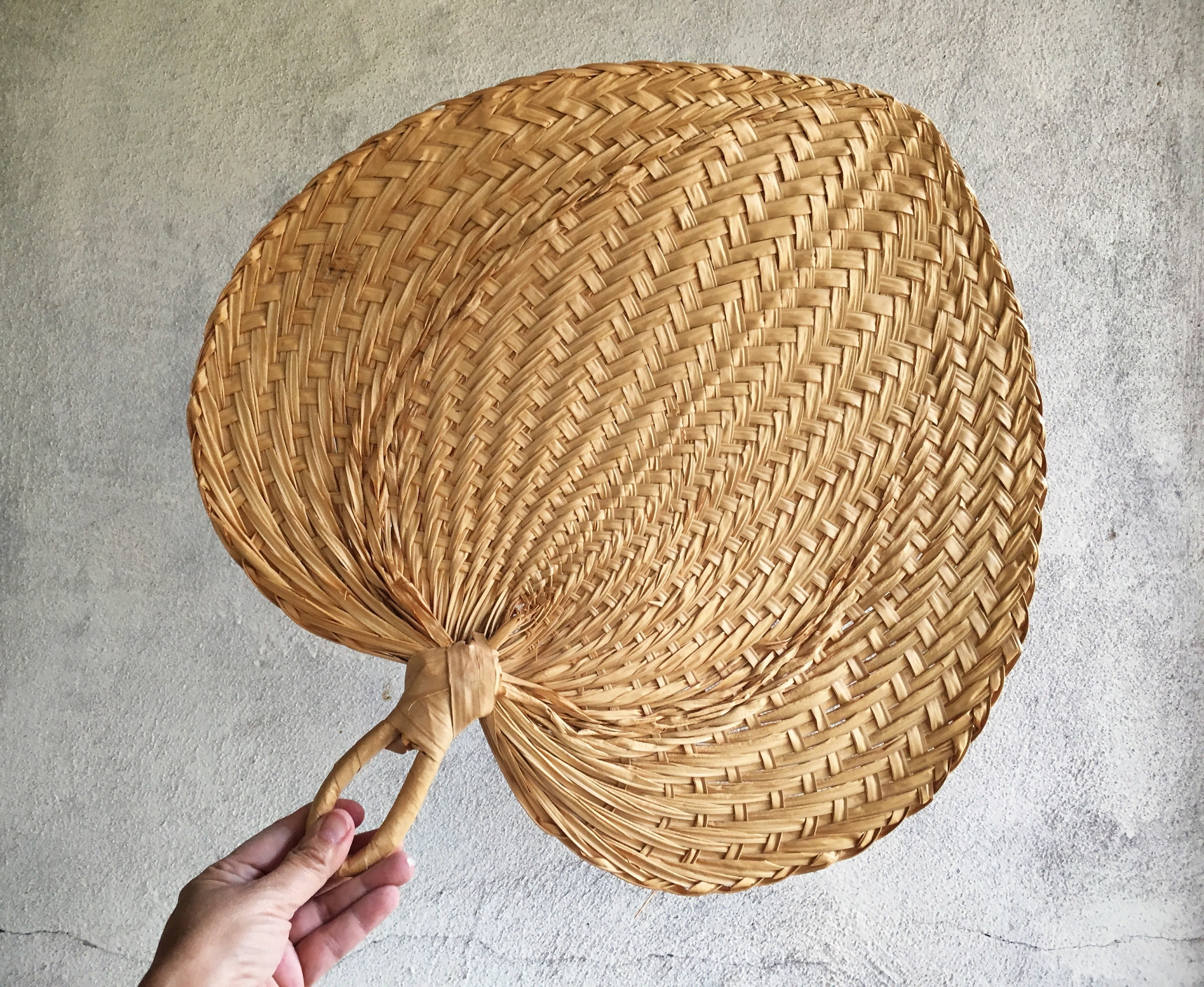 Vintage Woven Straw Fan Wall Hanging Jungalow Decor Wicker Wall Art throughout Current Woven Basket Wall Art