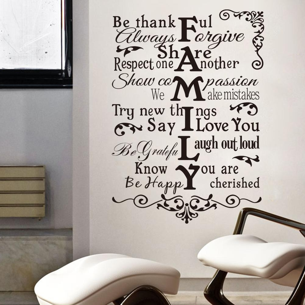 Vinyl Wall Art Stickers Large Family Rules Wall Decals For Living intended for Recent Family Rules Wall Art