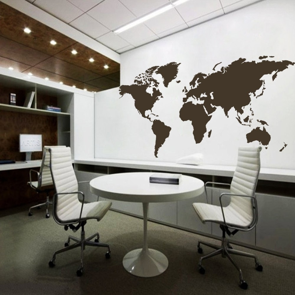 Vinyl Wall Art Wall Sticker Atlas World Map Wall Decal For Home With Regard To Most Current Vinyl Wall Art World Map (View 15 of 20)