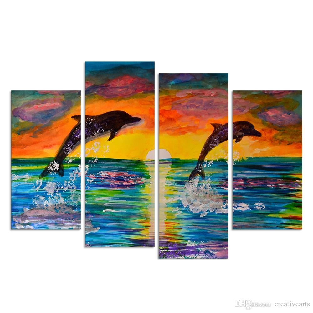 Visual Art Decor 4 Panel Wall Art Cororful Sea Sunset With Jumping With Regard To Best And Newest Panel Wall Art (Gallery 2 of 20)