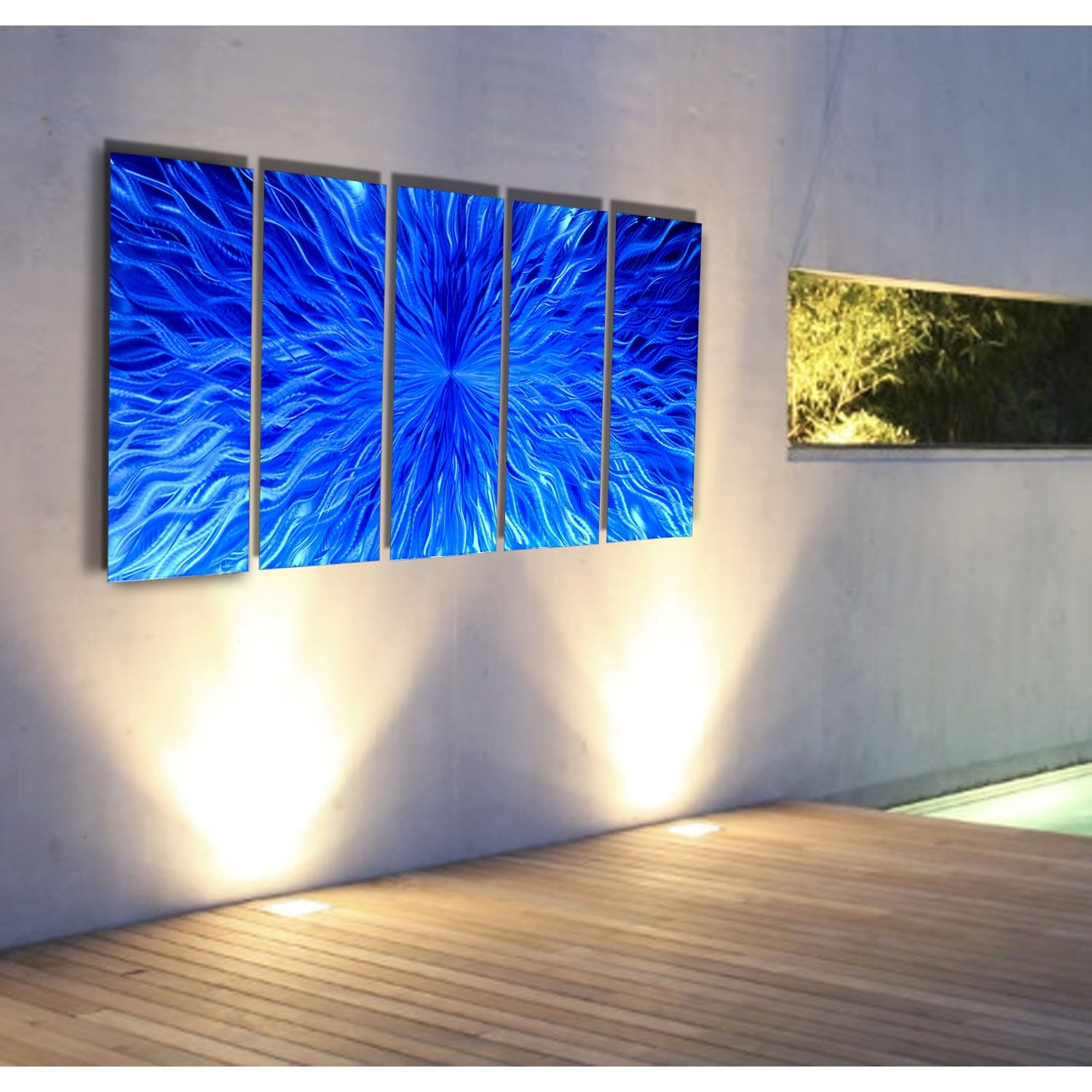 Vitality In Blue – Blue Metal Wall Art – 5 Panel Wall Décorjon Pertaining To Recent Panel Wall Art (View 20 of 20)