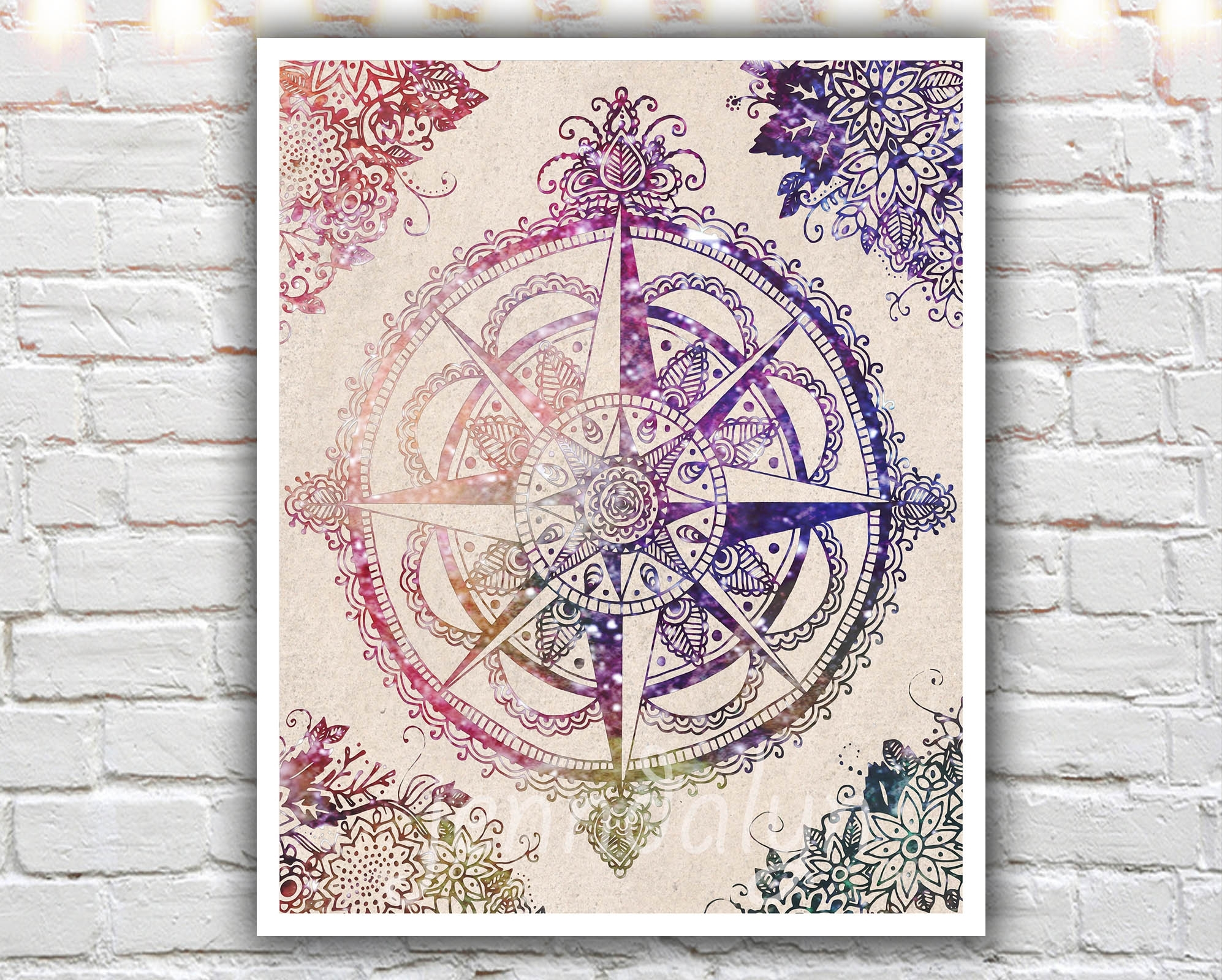 Voyager Ii – 16 X 20 Paper Print, Large Wall Art, Compass Rose In Best And Newest Henna Wall Art (View 18 of 20)