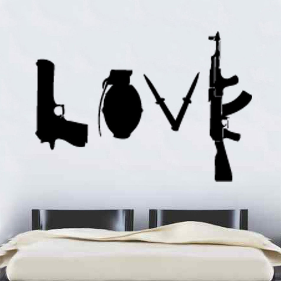 W227 Banksy Love Weapons Wall Sticker Art Graffitti Street Vinyl Regarding Newest Wall Sticker Art (Gallery 5 of 15)