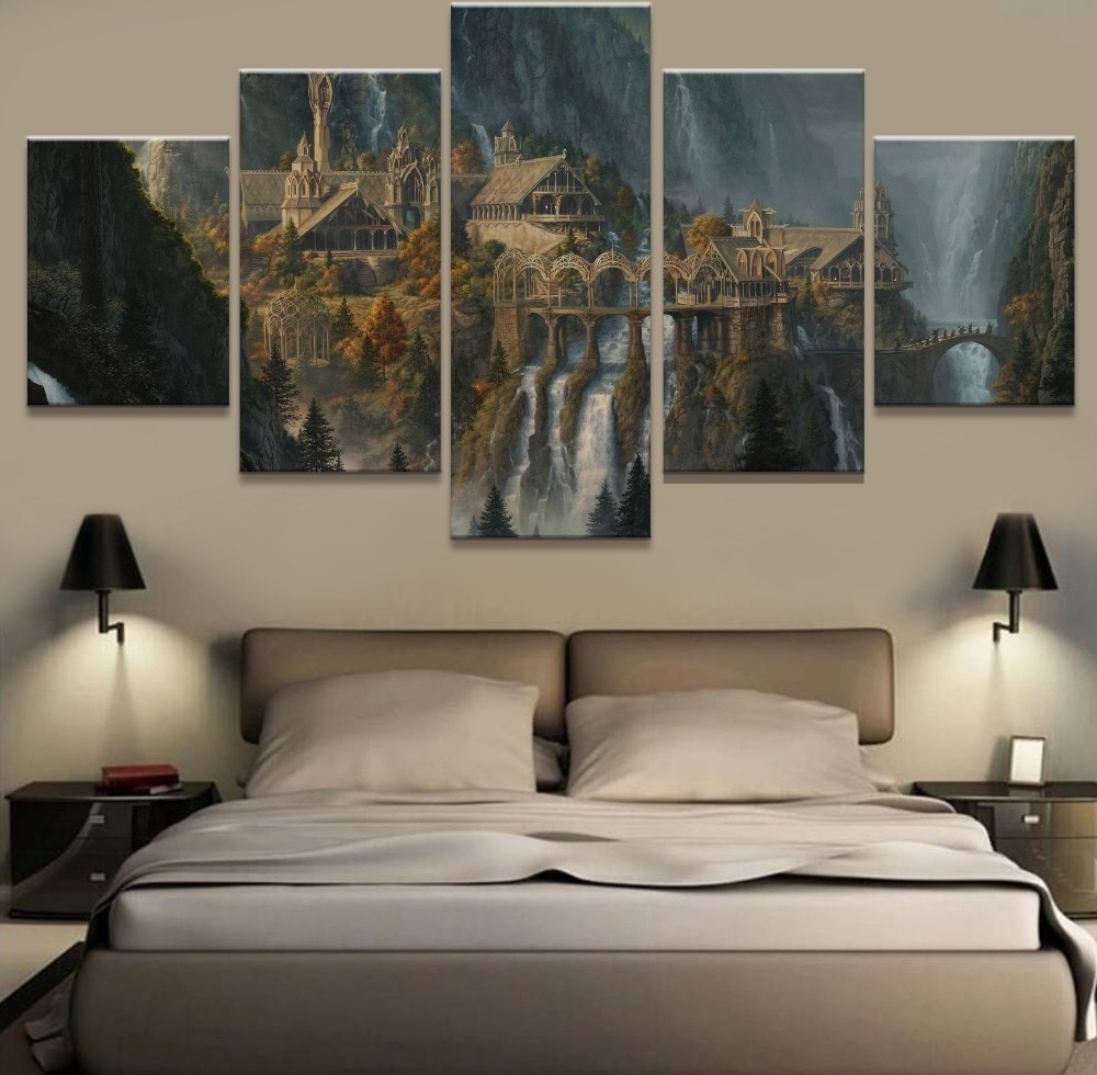 Wall Art 5 Panel Painting Lord Of The Rings Modern Home Decor Canvas For Latest Lord Of The Rings Wall Art (View 18 of 20)