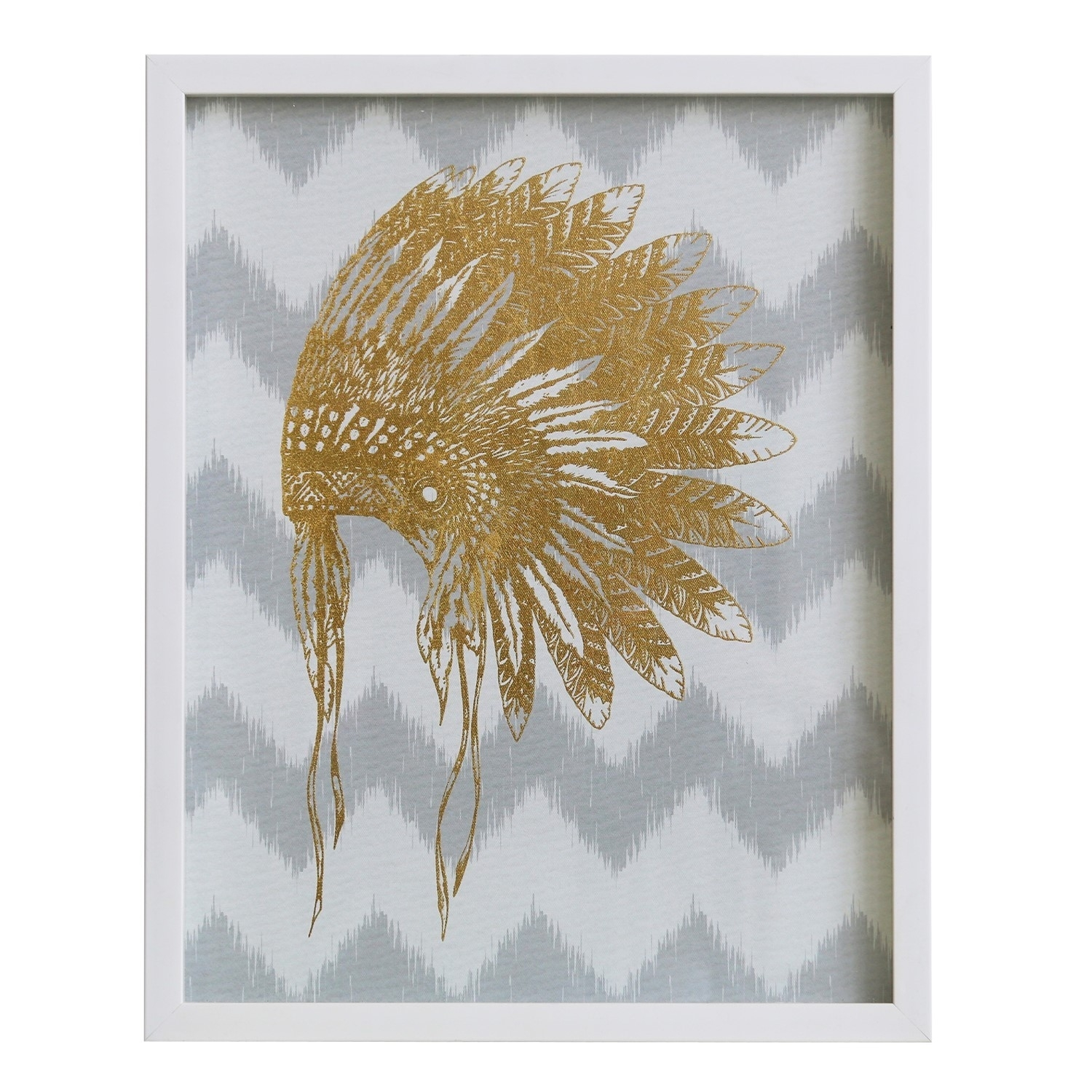 Wall Art/canvas/mdf/perspex Frame/war Bonnet In Gold Foil/16*2*20/ 1 For 2018 Wall Art (View 11 of 15)