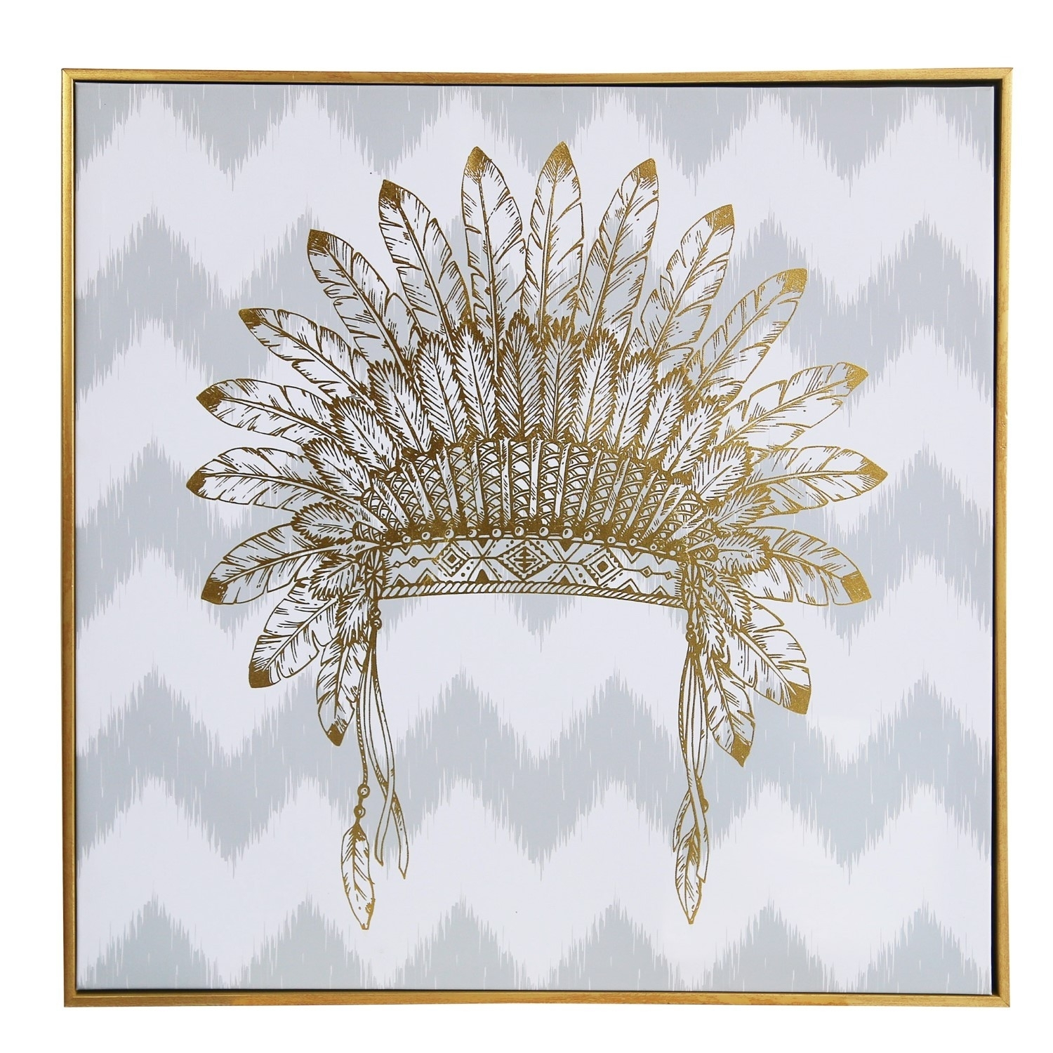 Wall Art/canvas/mdf/perspex Frame/war Bonnet In Gold Foil/24*2*24 For Newest Gold Wall Art (View 13 of 15)