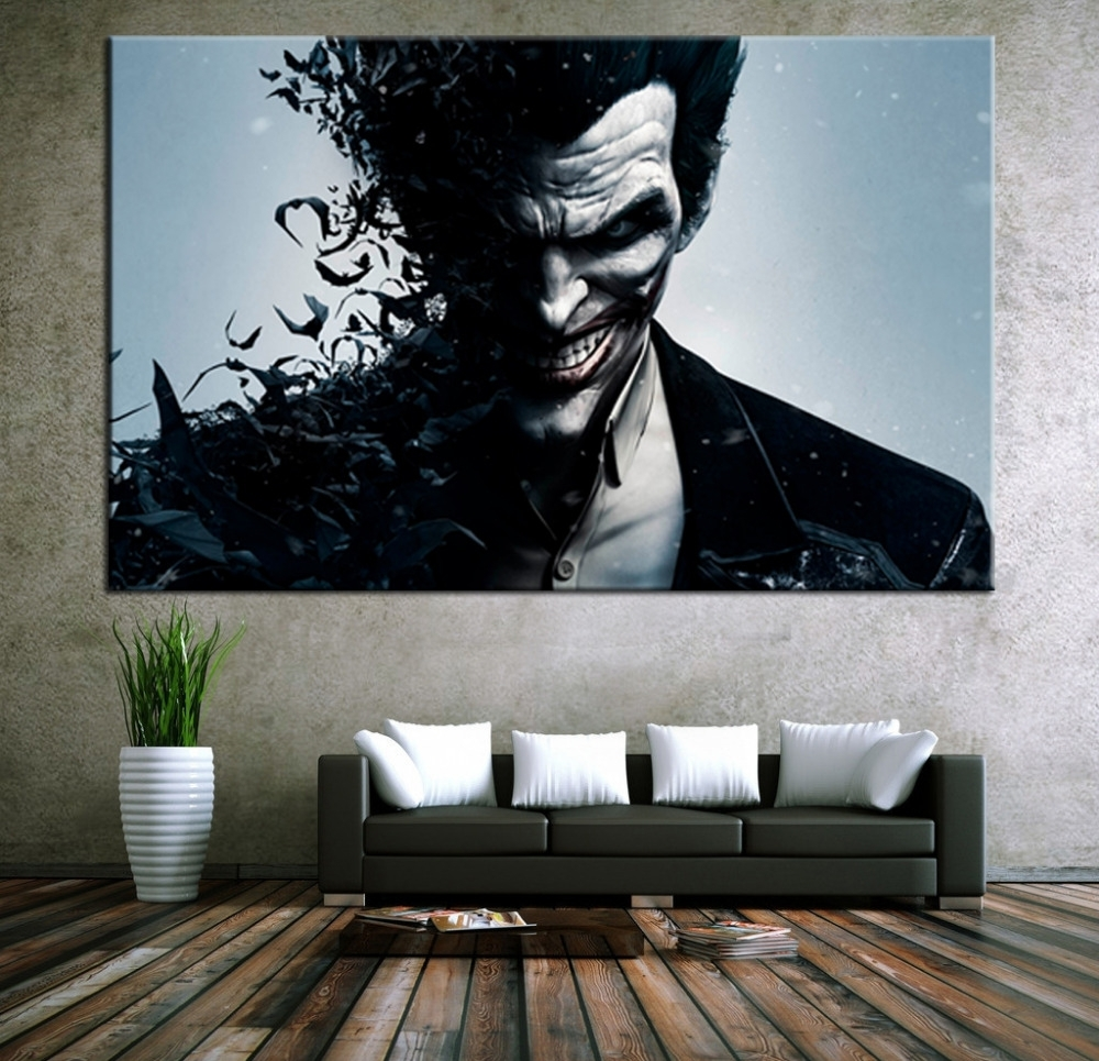 Wall Art Canvas Movie Poster Batman Joker Poster Print On Canvas For Most Recently Released Wall Art Canvas (View 15 of 15)