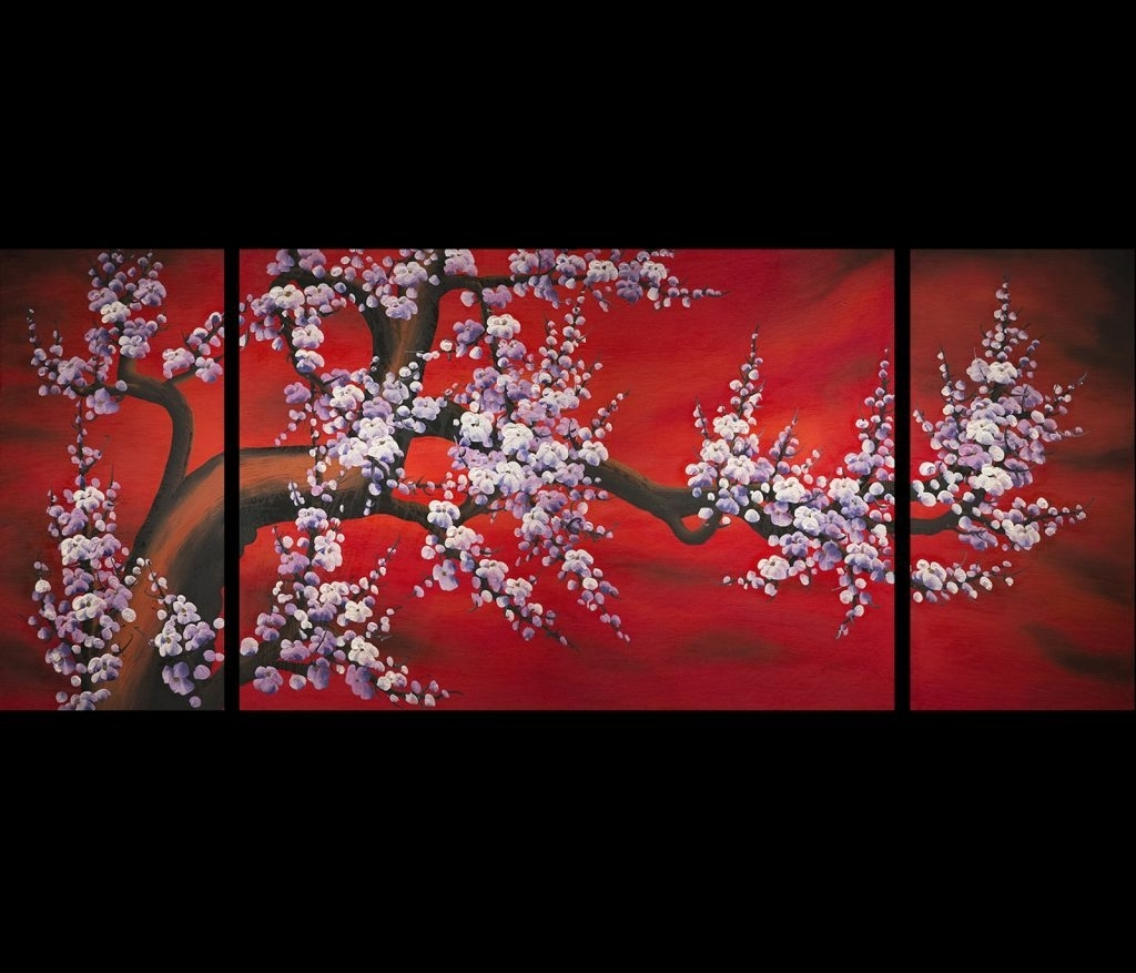 Wall Art Design Ideas: Flower Chinese Wall Art Simple, Oriental Wall Inside Latest Chinese Wall Art (Gallery 3 of 20)