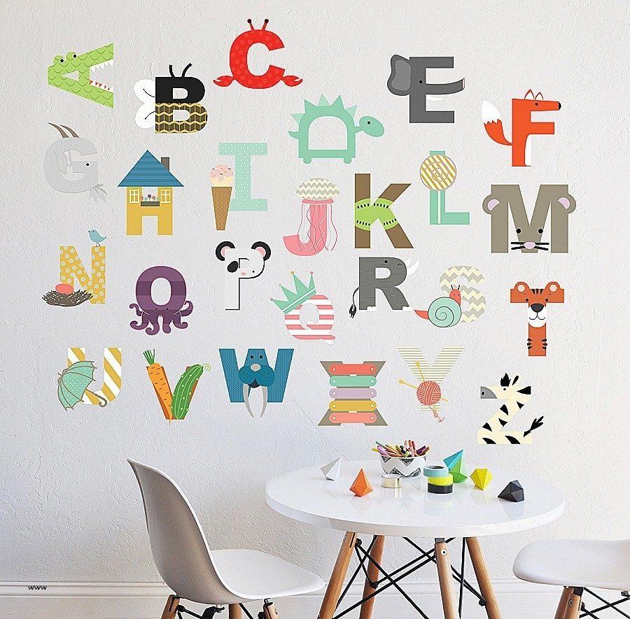Wall Art. Elegant Alphabet Cards Wall Art: Alphabet Cards Wall Art Intended For 2017 Alphabet Wall Art (Gallery 17 of 20)