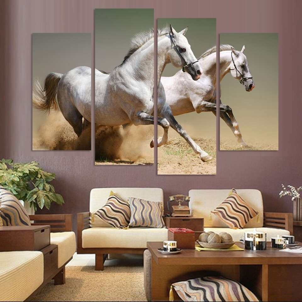 Wall Art Home Decor Living Room Pictures 4 Panel Animal Racing In Best And Newest Horses Wall Art (Gallery 16 of 20)