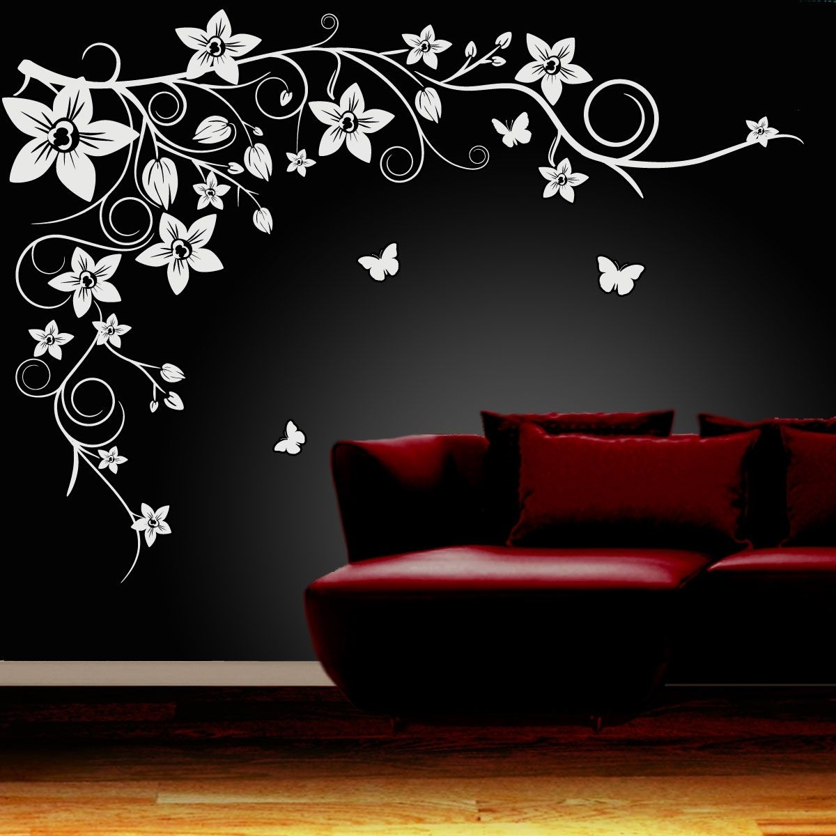 Wall Art Ideas Design : Black Flower Wall Art Simple Themes  | Dh Throughout Latest Flower Wall Art (Gallery 8 of 20)