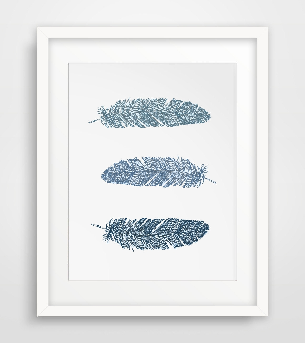 Wall Art Ideas Design : Navy Blue Feather Wall Art Print Dark Inside Most Recently Released Feather Wall Art (Gallery 6 of 20)