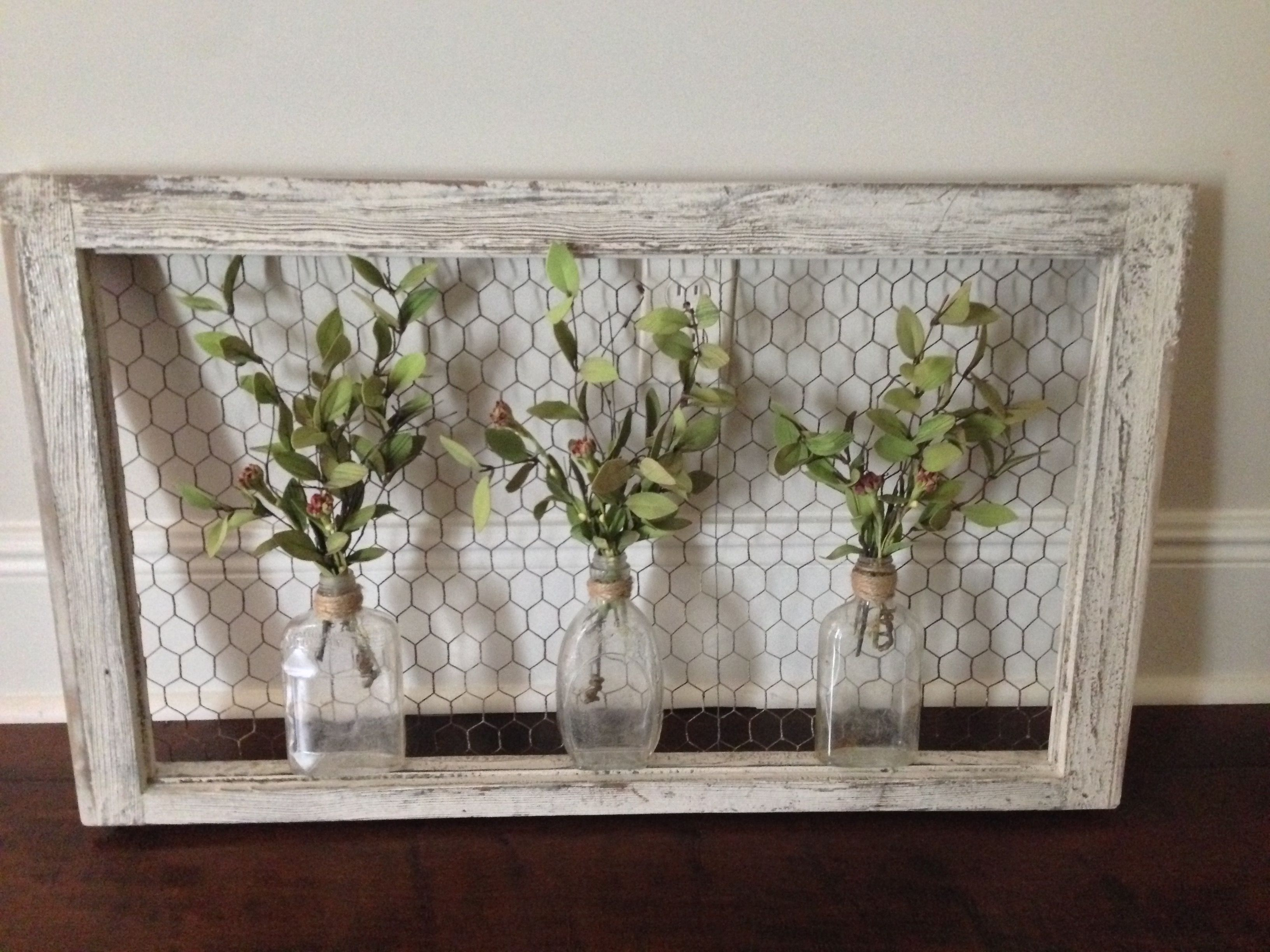 Wall Art: Old Window Frame, Chicken Wire, Old Bottles And Greenery With Regard To Best And Newest Window Frame Wall Art (View 4 of 15)