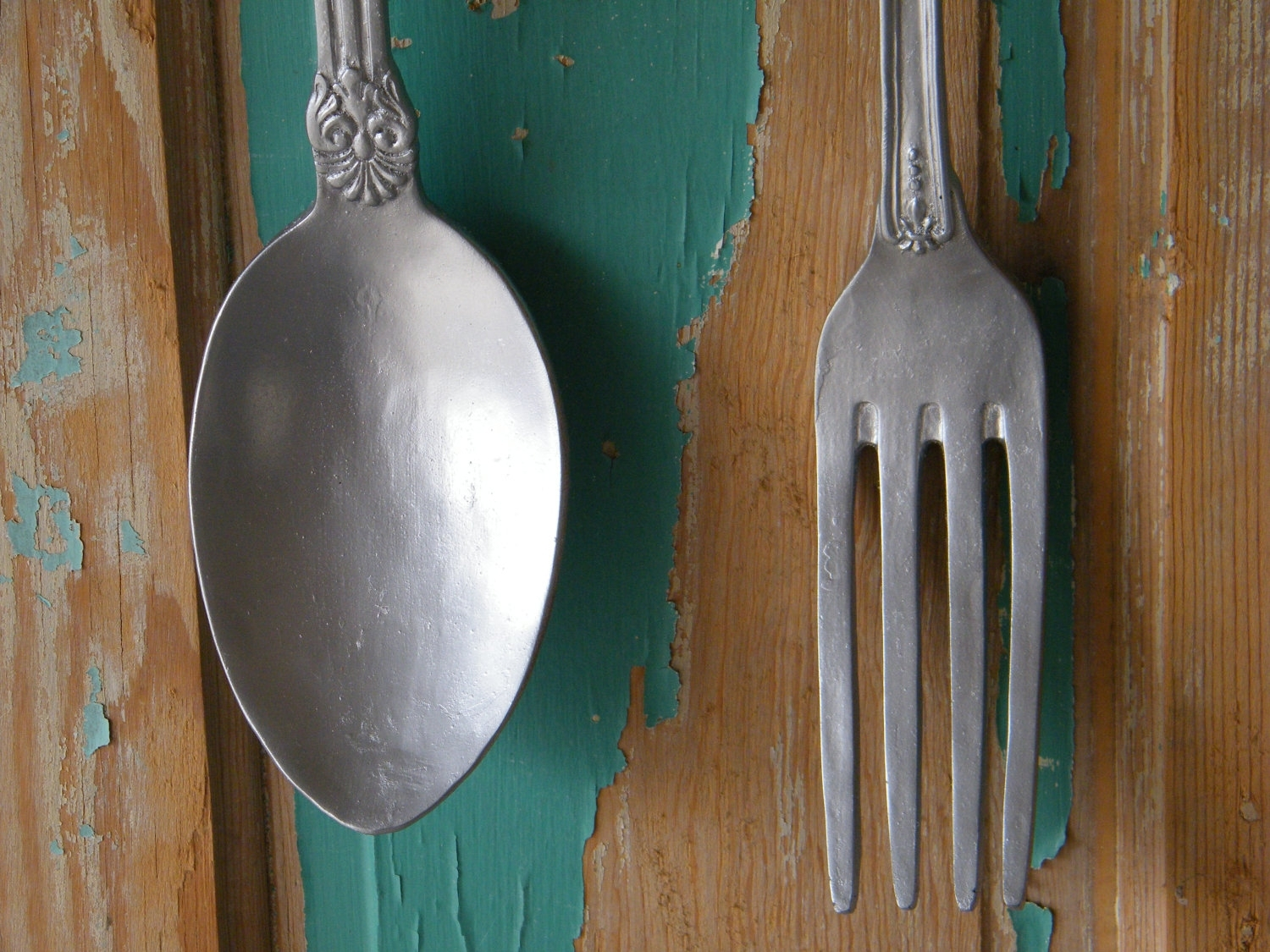 Wall Art Oversize Fork Spoon Chrome Silver Morrelldecor – Home With Most Up To Date Fork And Spoon Wall Art (View 20 of 20)