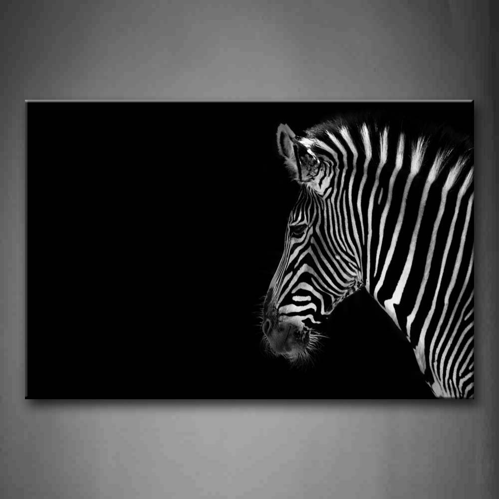 Wall Art Painting Pictures Black And White Portrait Of Zebra Head Regarding 2018 Zebra Canvas Wall Art (View 2 of 20)