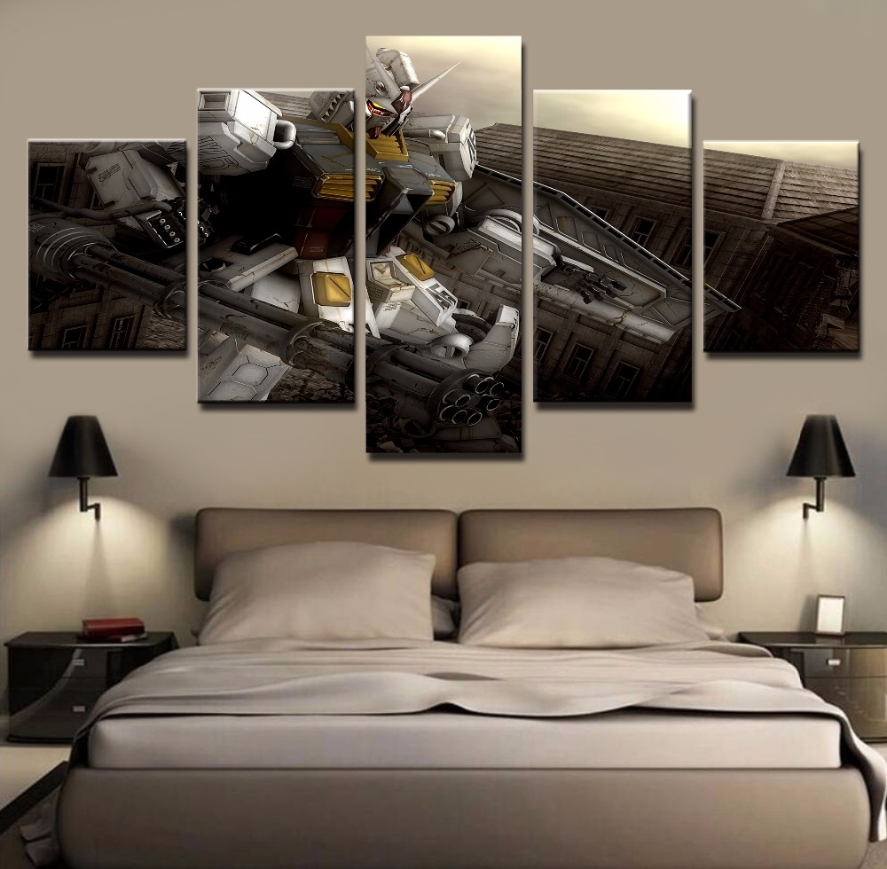 Wall Art Painting Pictures Canvas Printed Anime Modular Poster 5 Inside Recent 5 Panel Wall Art (Gallery 13 of 20)