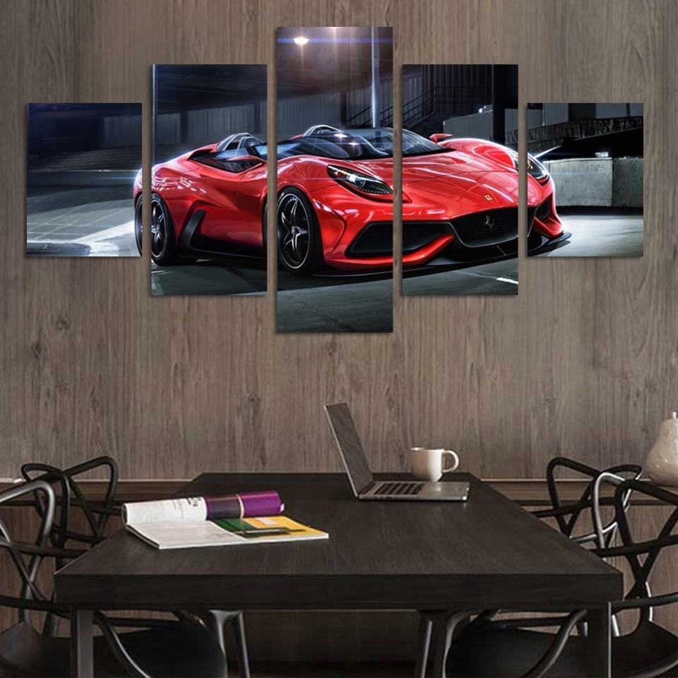Wall Art Picture 5 Panel Cool Red Reflective Sports Car Large Hd Regarding Current Car Canvas Wall Art (View 7 of 20)