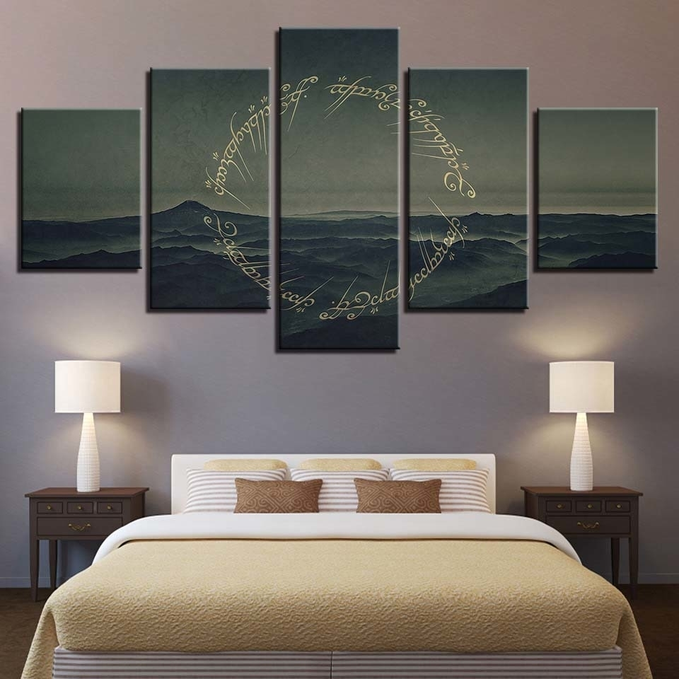 Wall Art Pictures Canvas Framework Home Decoration Room 5 Panel Pertaining To Most Up To Date Lord Of The Rings Wall Art (View 19 of 20)