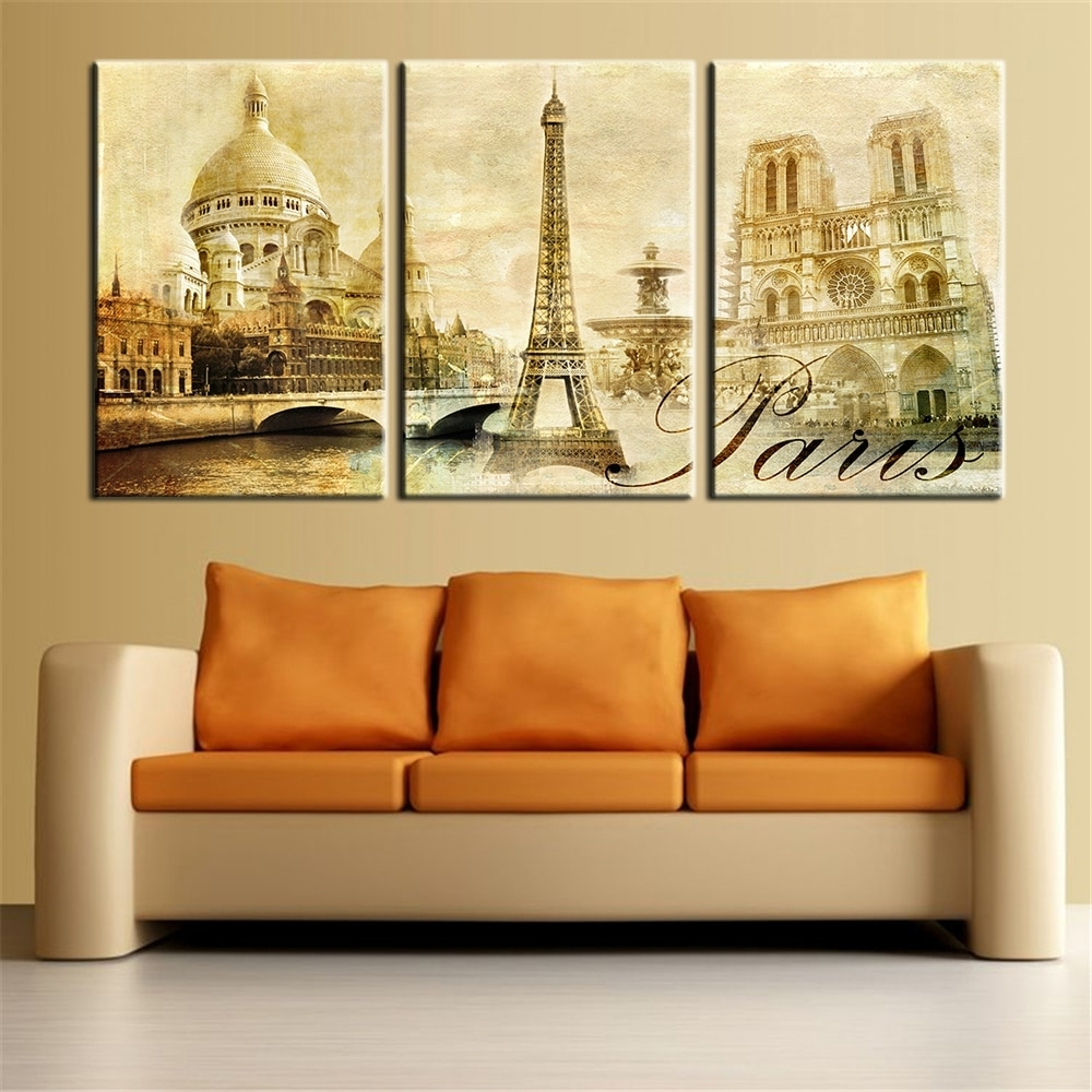 Wall Art Pictures Paris Famous Buildings Large Modern Home Wall Inside Most Current Paris Wall Art (View 14 of 15)