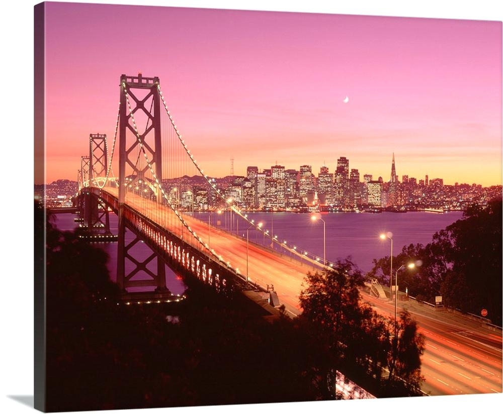 Wall Arts ~ San Francisco Wall Art Bay Bridge At Dusk Canvas San Pertaining To Most Popular San Francisco Wall Art (View 19 of 20)