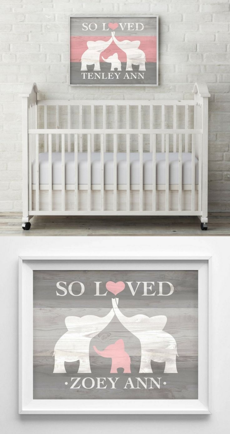 Wall Decal, Elephant Nursery Wall Decor , Nursery Wall Decal, Baby In Newest Name Wall Art (Gallery 10 of 20)