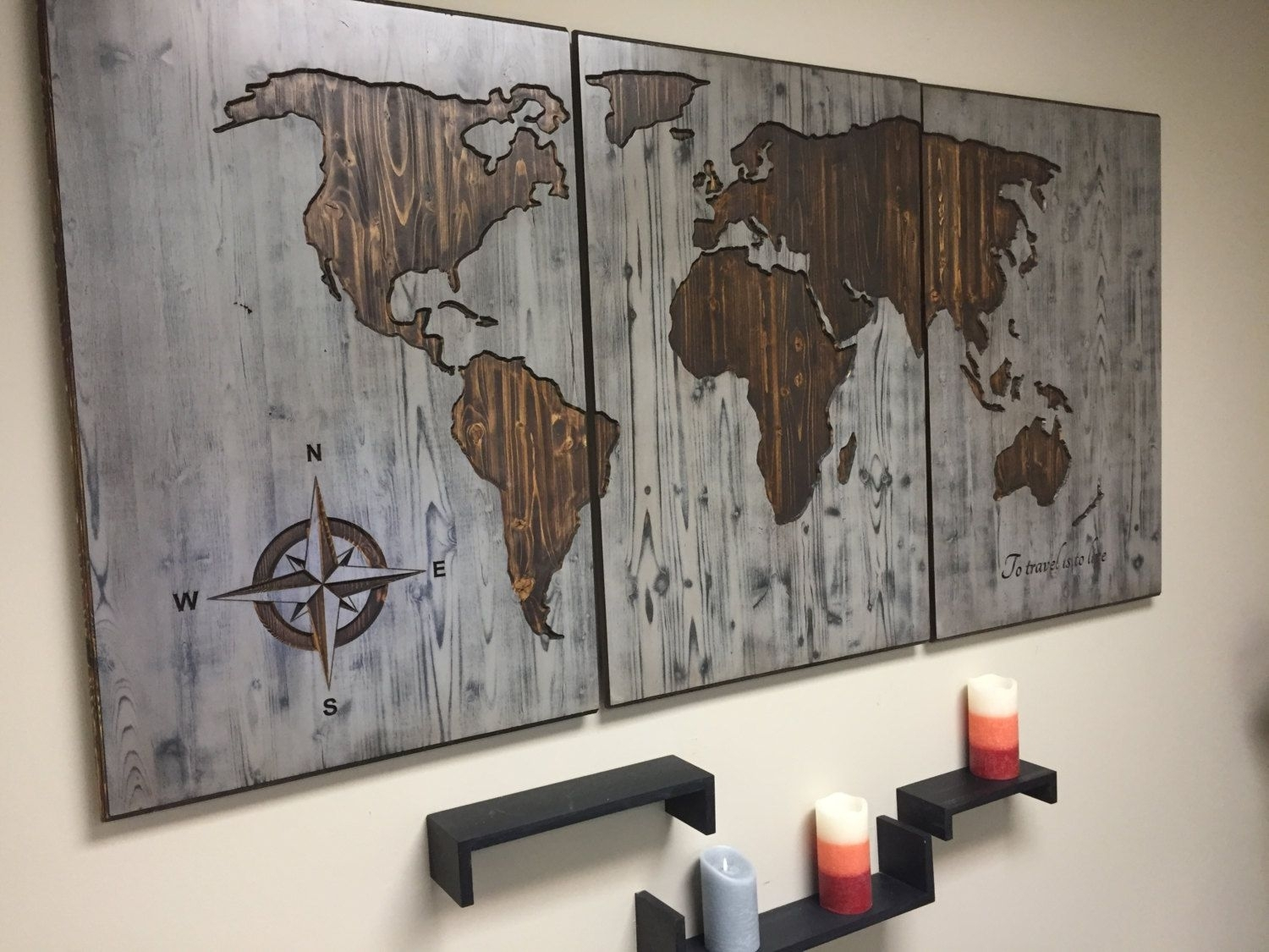 Wall Decor For Home, World Map, Customized, Wooden Map, Push Pin Map For Best And Newest Wooden Wall Art (View 10 of 15)