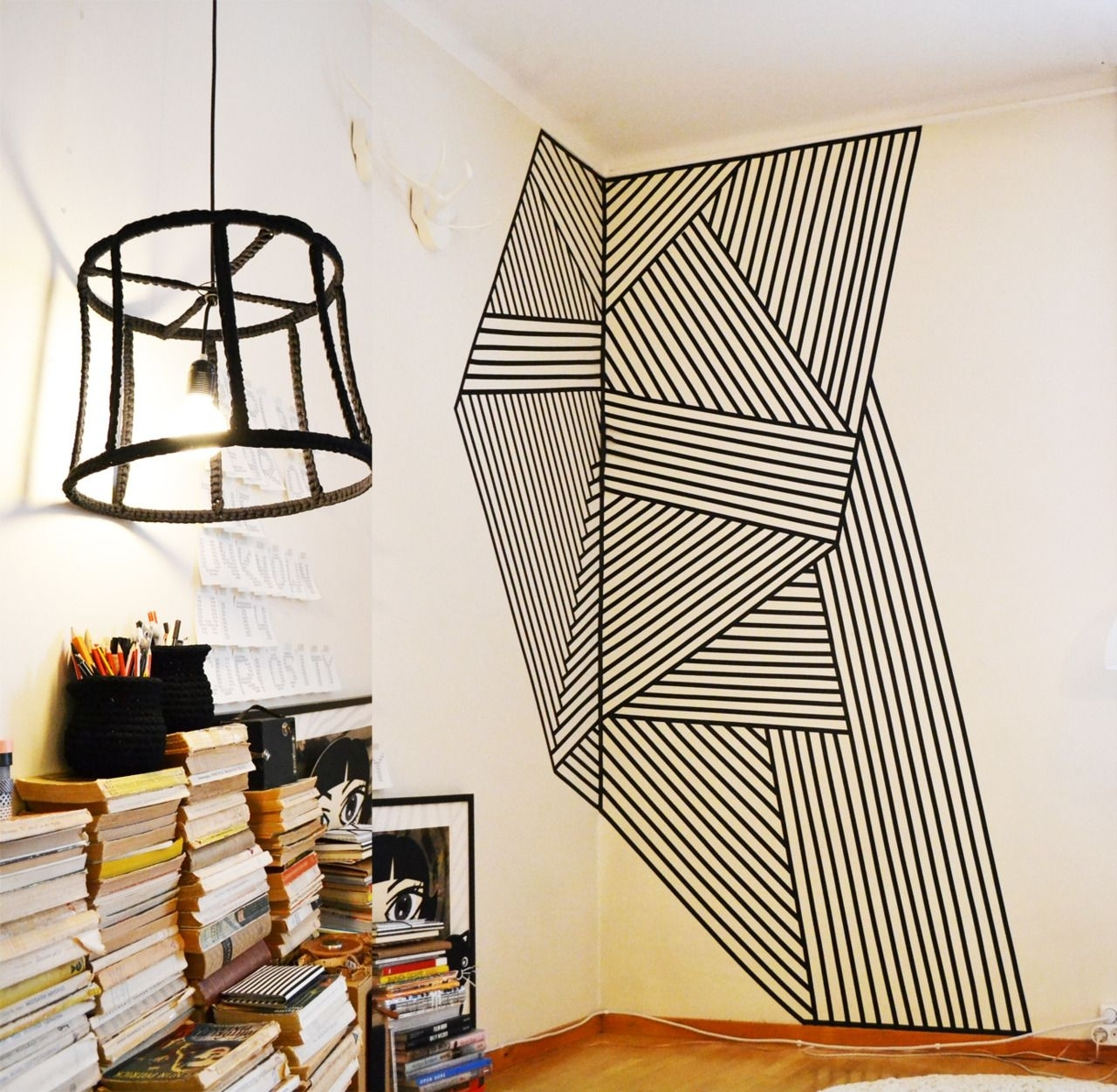 Wall Decoration Made With Black Plastic Tape (View 9 of 15)