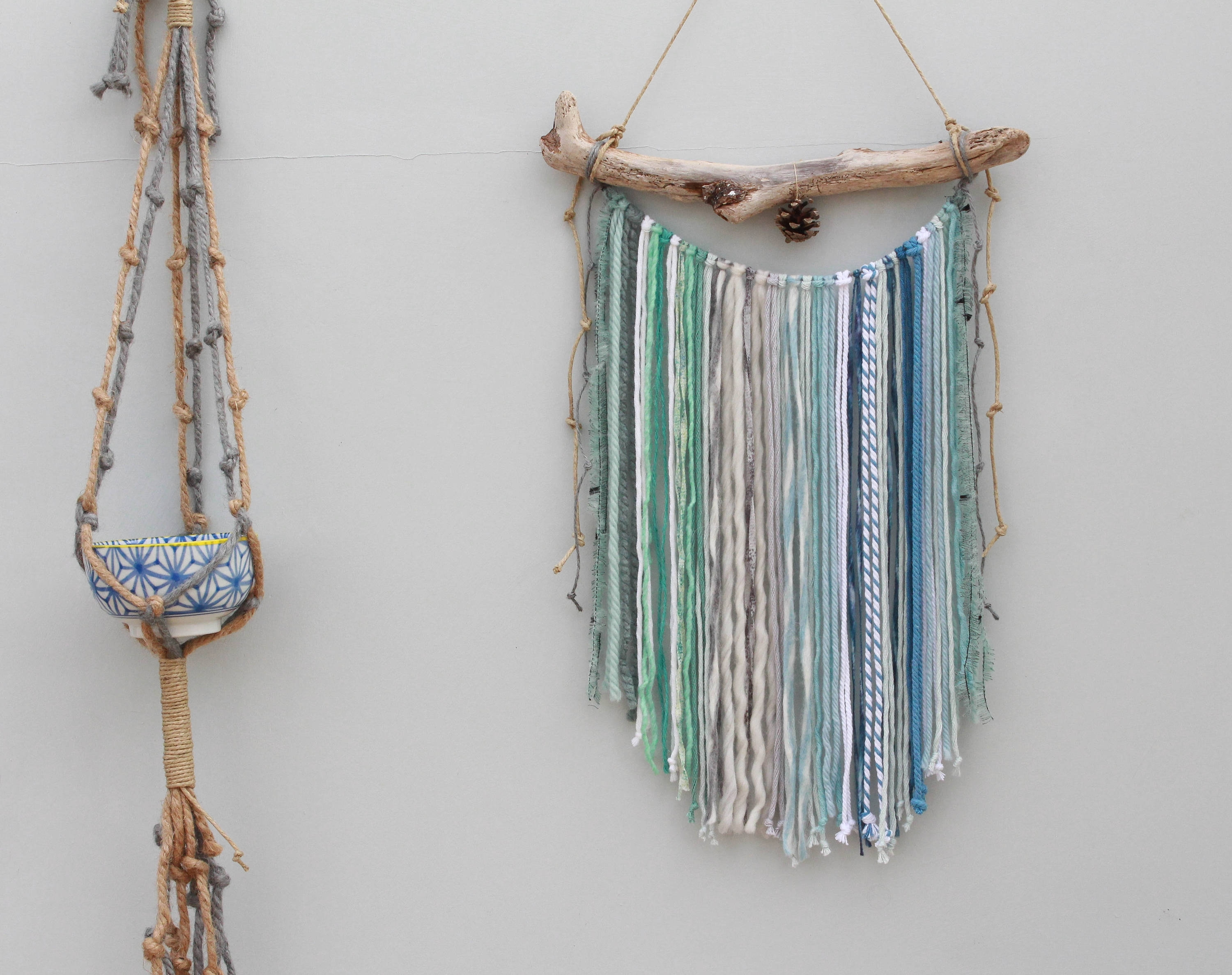 Wall Hanging/ Blue Green Macrame Wall Hanging/ Mixed Media Wall For Newest Yarn Wall Art (View 19 of 20)