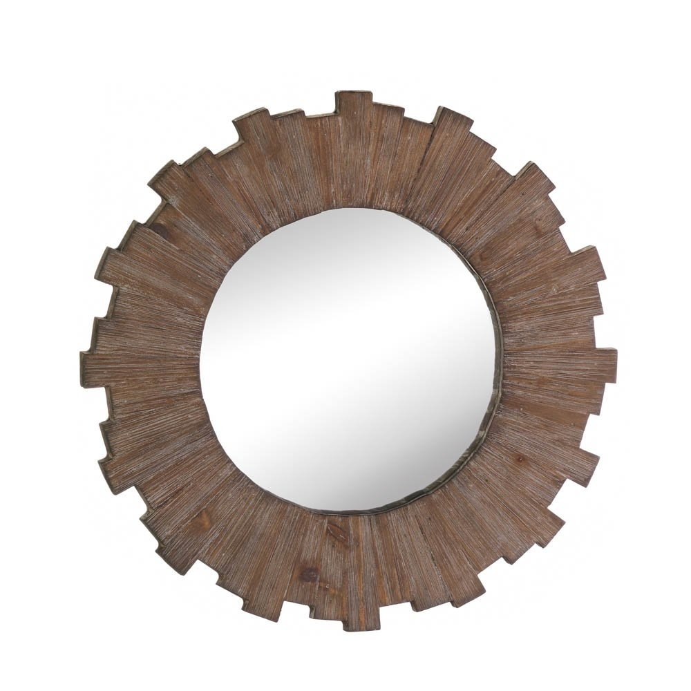 Wall Mirrors Decorative, Mdf Wood Framed Round Mirror Wall Art Decor With 2018 Round Wall Art (View 18 of 20)