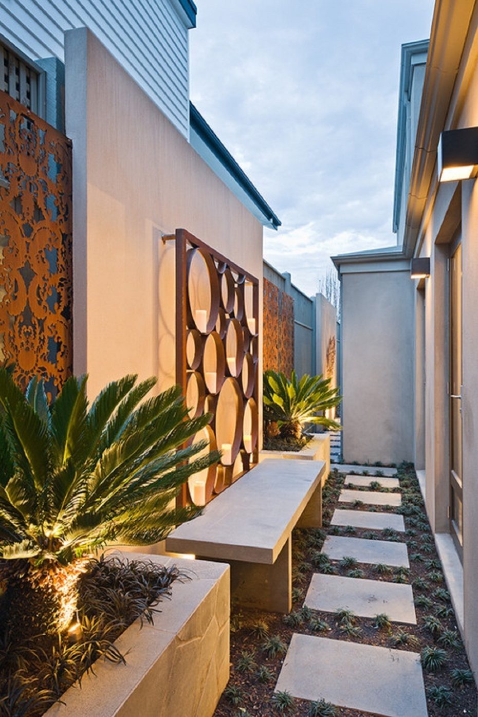 Wall: Outdoor Wall Art Idea For Entrance Furnished With Bench And With Regard To 2018 Outdoor Wall Art (View 14 of 15)