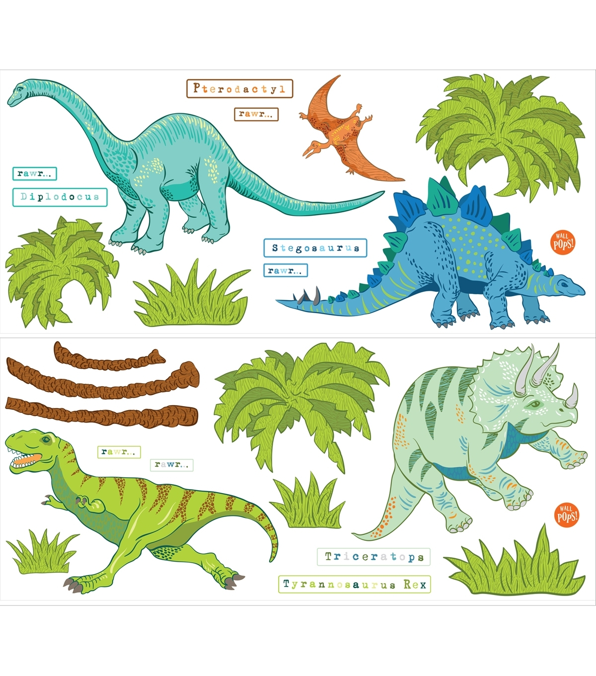 Wall Pops Dinosaur Expedition Wall Art Decal Kit, 42 Piece Set | Joann Throughout Most Popular Dinosaur Wall Art (View 19 of 20)
