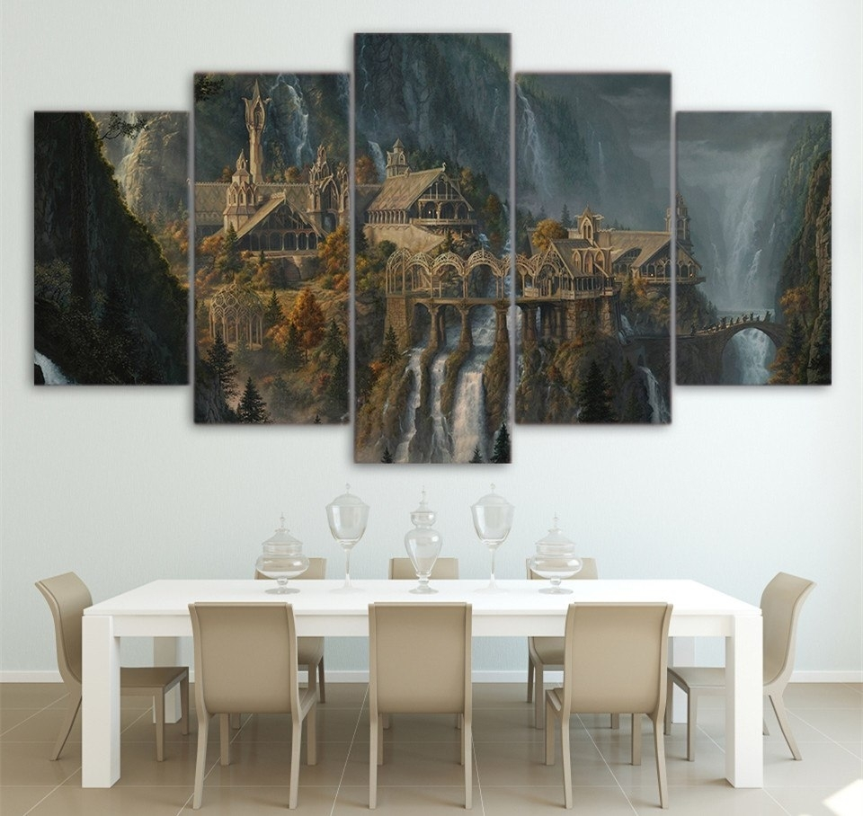 Wall Printed 5 Piece Wall Art Lord Of The Rings Canvas Post Prints Within 2017 Lord Of The Rings Wall Art (View 7 of 20)