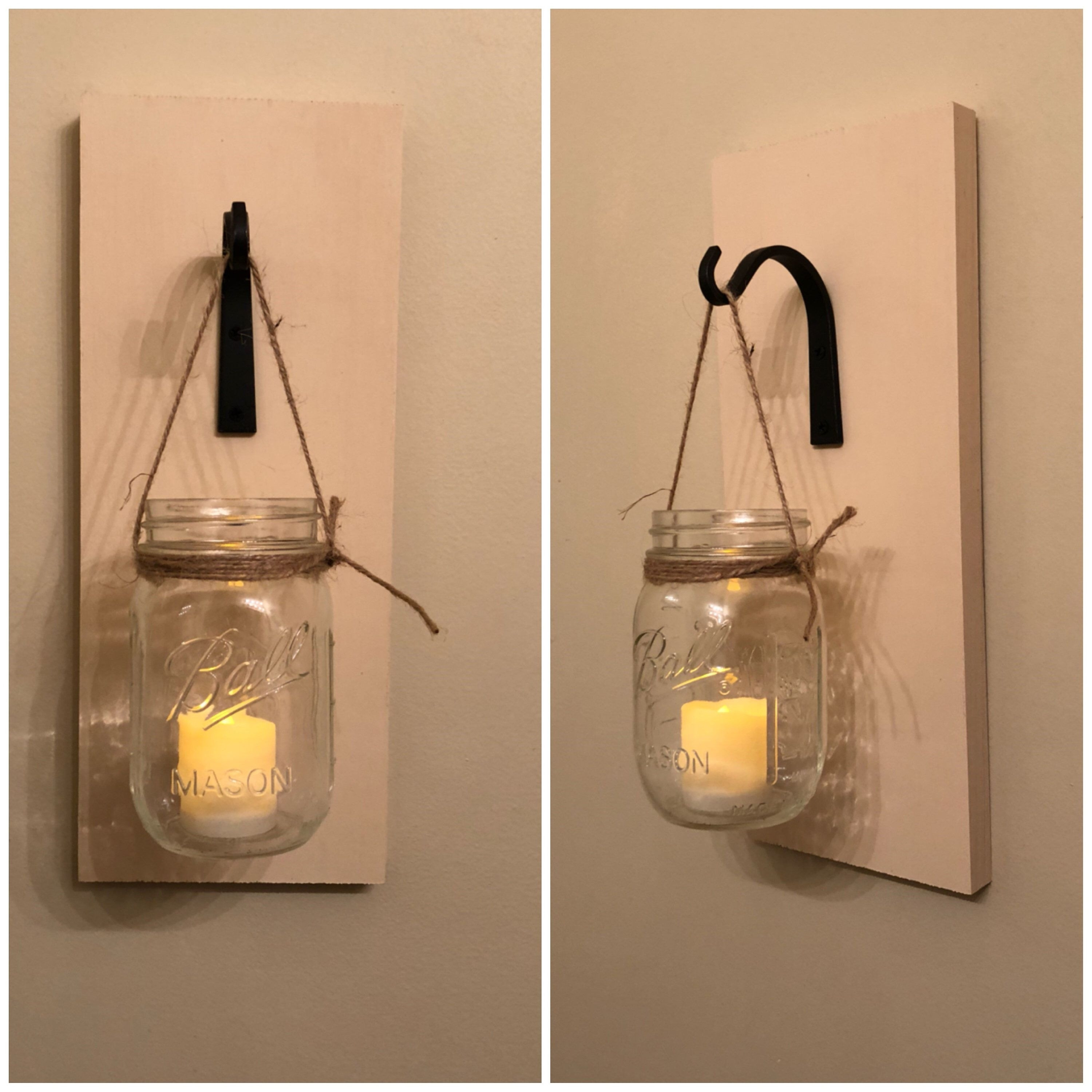 Wall Sconce Mason Jar Sconce Country Home Sconce Wall Decor Scheme In Most Up To Date Mason Jar Wall Art (View 13 of 20)