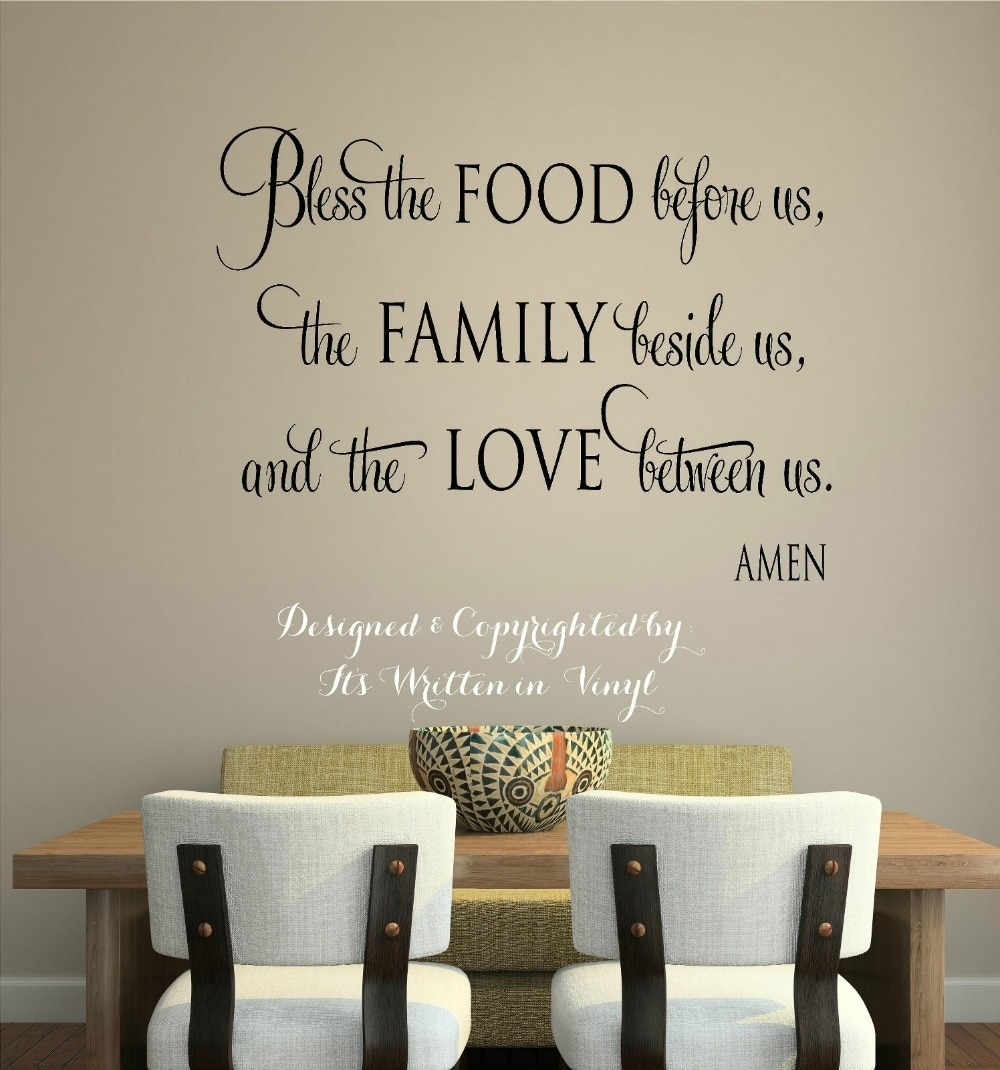 Wall Sticker Bless The Food Vinyl Lettering Wall Decal Words Home For Newest Word Art For Walls (View 17 of 20)