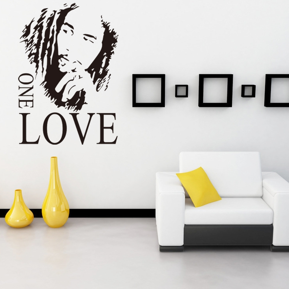 Wall Sticker Vinyl Art Decor Bob Marley One Love Mural Removable With Most Recent Corner Wall Art (Gallery 20 of 20)