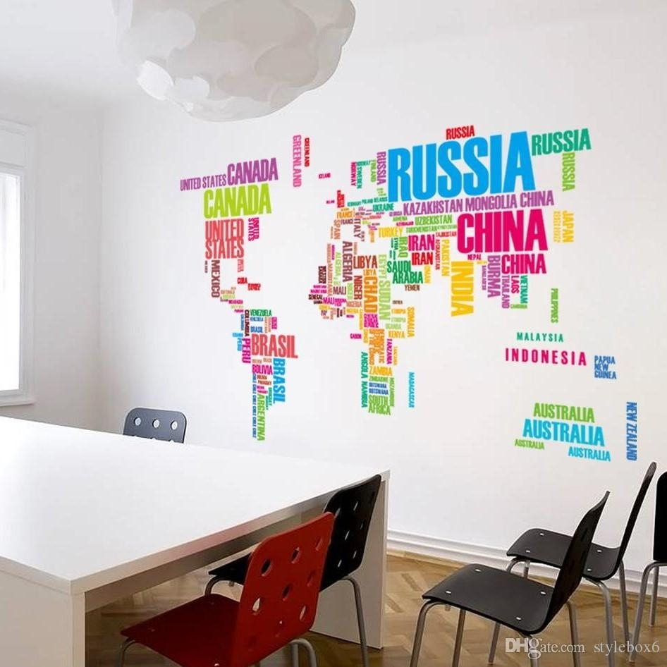 Wallpaper Colorful Letters World Map Wall Stickers Living Home With Most Popular Diy World Map Wall Art (Gallery 19 of 20)