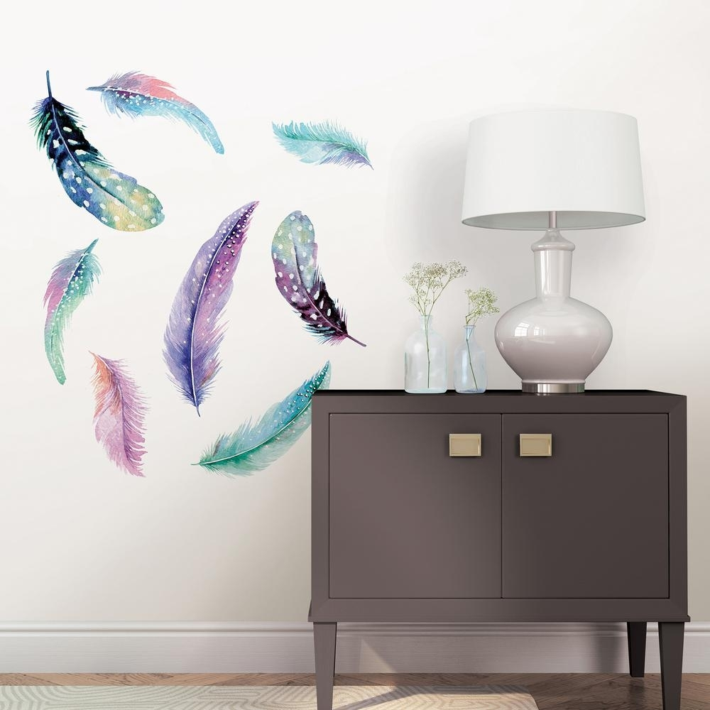 Wallpops Multi Color Celestial Feathers Wall Art Kit Dwpk2462 – The Throughout Current Feather Wall Art (Gallery 3 of 20)