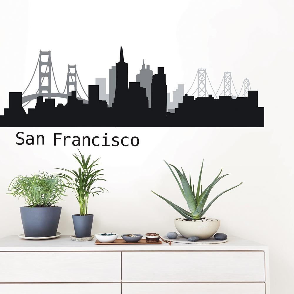 Wallpops San Francisco Black Cityscape Wall Art Kit Dwpk2570 – The With Regard To Latest San Francisco Wall Art (View 20 of 20)