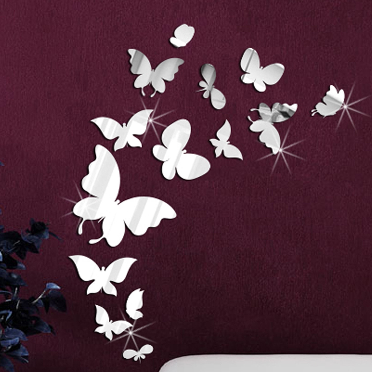 Walplus 14 Mirror Butterflies Wall Art Wall Decal & Reviews | Wayfair With Latest Butterfly Wall Art (Gallery 3 of 15)