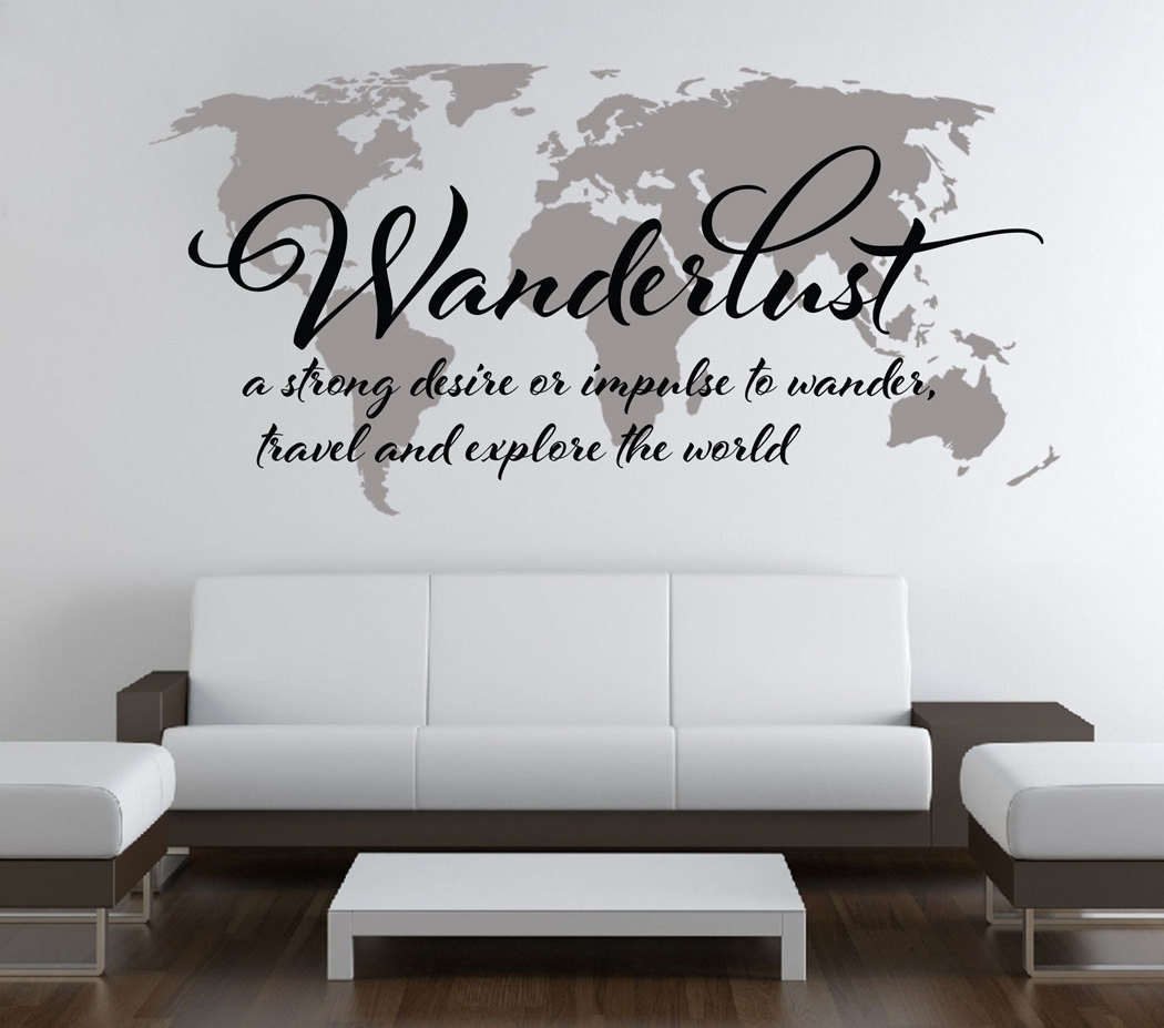 Wanderlust Travel Quote World Map Wall Art Decal · Moonwallstickers In Most Recent Quote Wall Art (View 19 of 20)