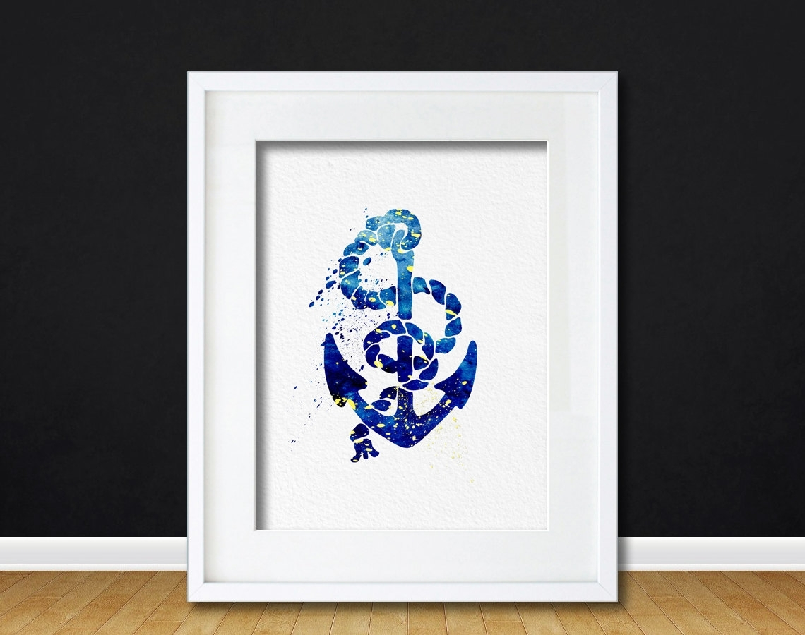 Watercolor Art Anchor And Rope Gift Modern 8X10 Wall Art Decor Pertaining To Latest Anchor Wall Art (View 19 of 20)