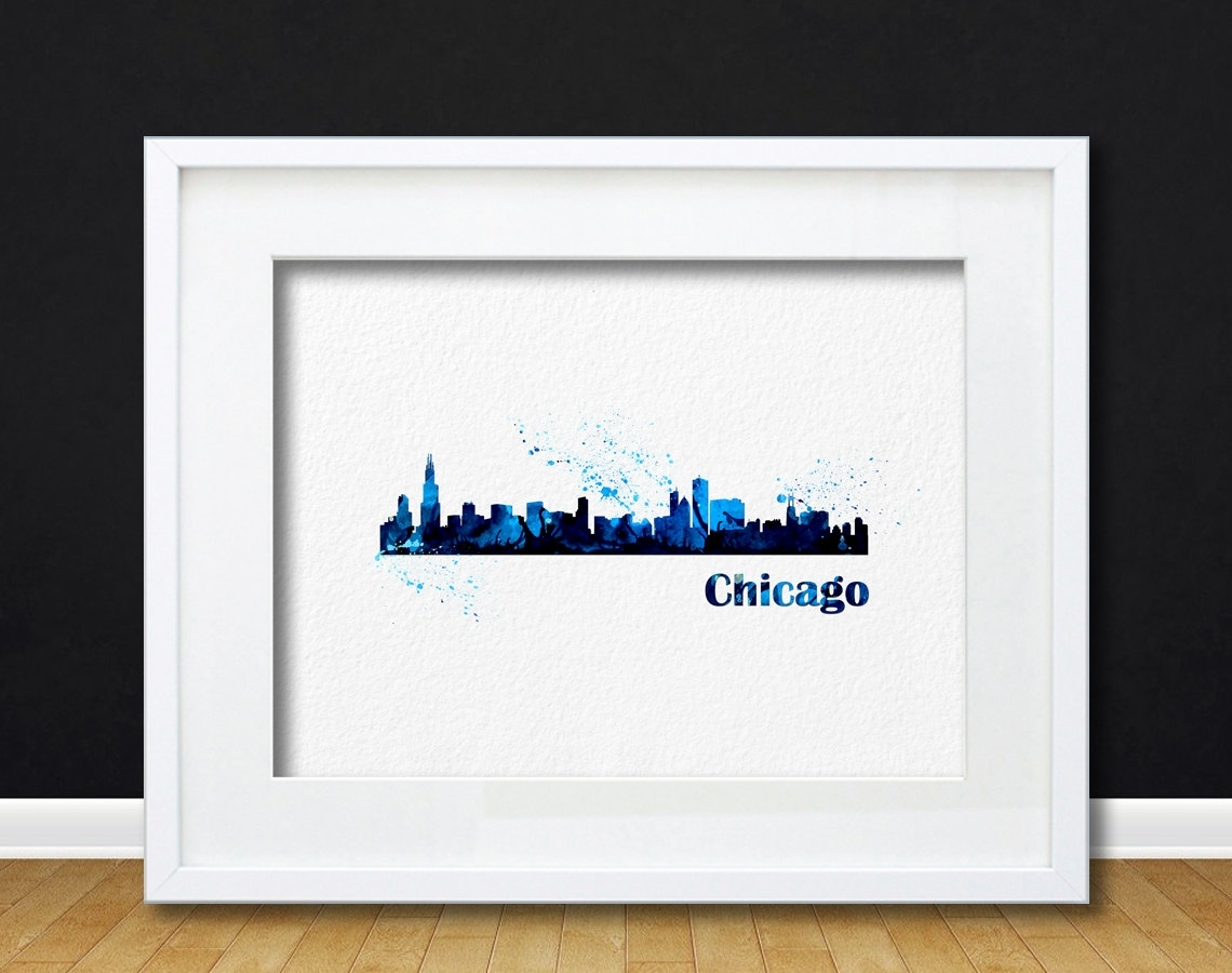 Watercolor Art Cityscape Chicago Gift Modern 8x10 Wall Art Decor Within Current Chicago Wall Art (View 10 of 15)