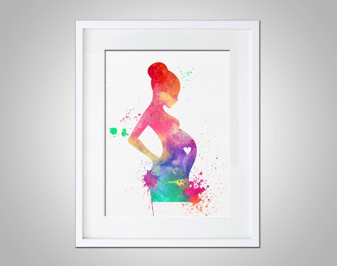 Watercolor Art Expectant Mother Baby Shower Gift Modern 8X10 Wall In Best And Newest Wall Art Prints (Gallery 18 of 20)
