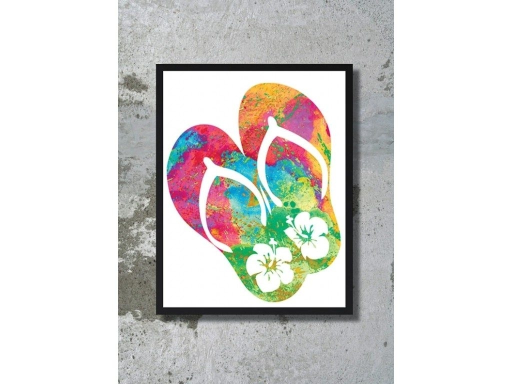Watercolor Art Print Flip Flops Art Ocean Painting Sea Poster In Within 2018 Flip Flop Wall Art (View 15 of 15)