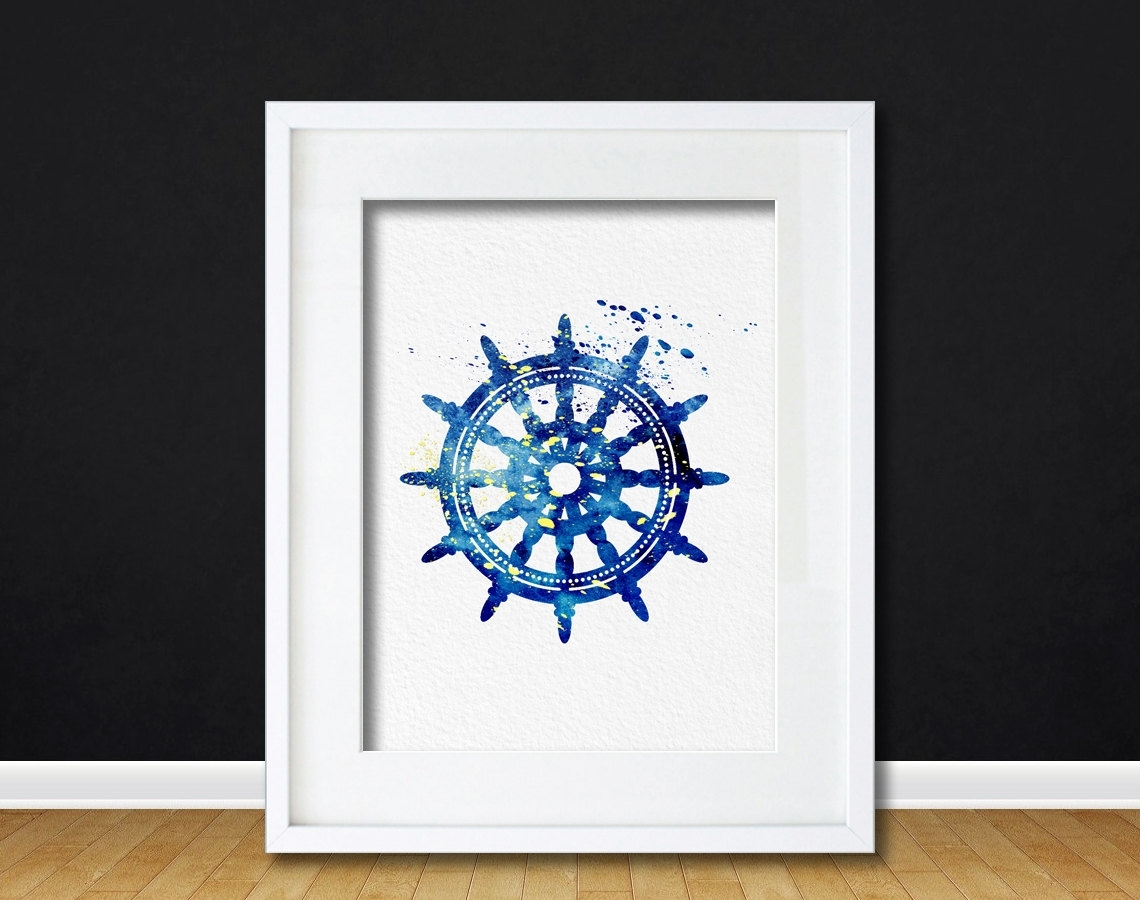 Watercolor Art Ships Wheel Gift Modern 8X10 Wall Art Decor Nautical Regarding Latest Nautical Wall Art (View 15 of 15)