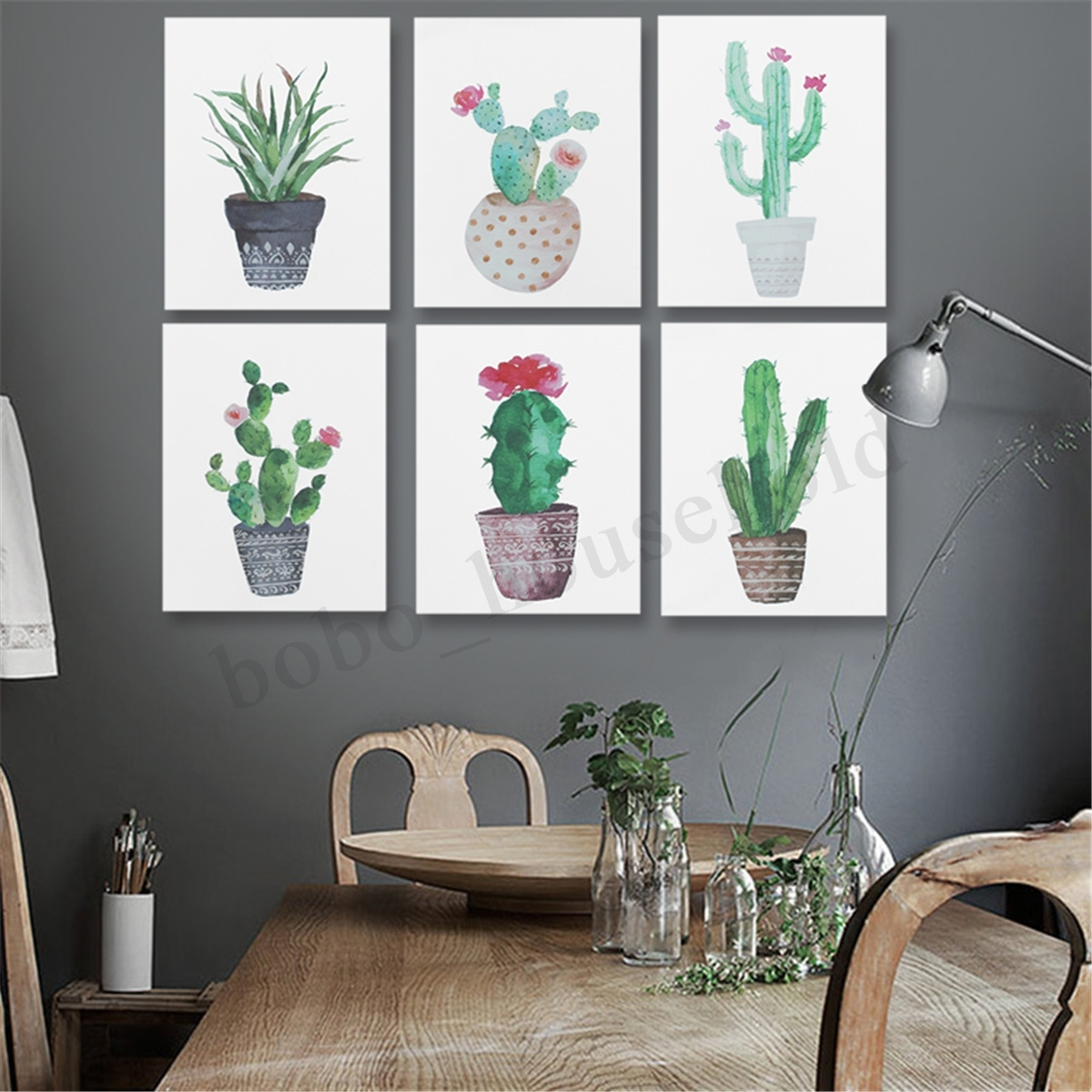 Watercolor Canvas Cactus Painting Print Picture Modern Home Wall Art Intended For Best And Newest Cactus Wall Art (View 10 of 20)