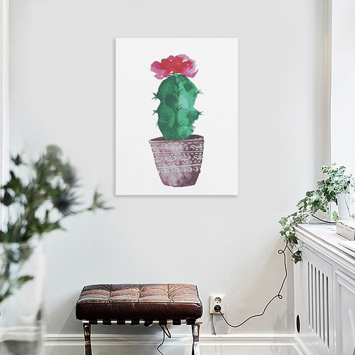 Watercolor Canvas Cactus Painting Print Picture Modern Home Wall Art Intended For Recent Cactus Wall Art (View 19 of 20)